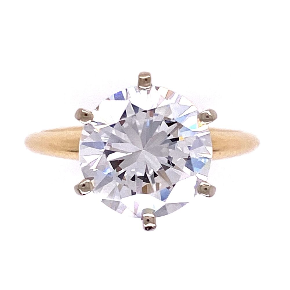 Image 2 for 14K YG 6 Prong Solitaire CZ Cubic Zirconia Ring 2.6g, s