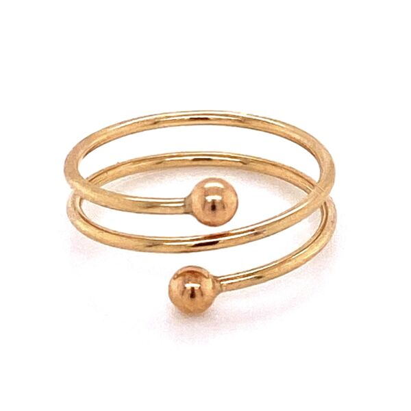 Closeup photo of 14K YG 3 Row Wrap Around Ring with Ball Ends 1.1g, s