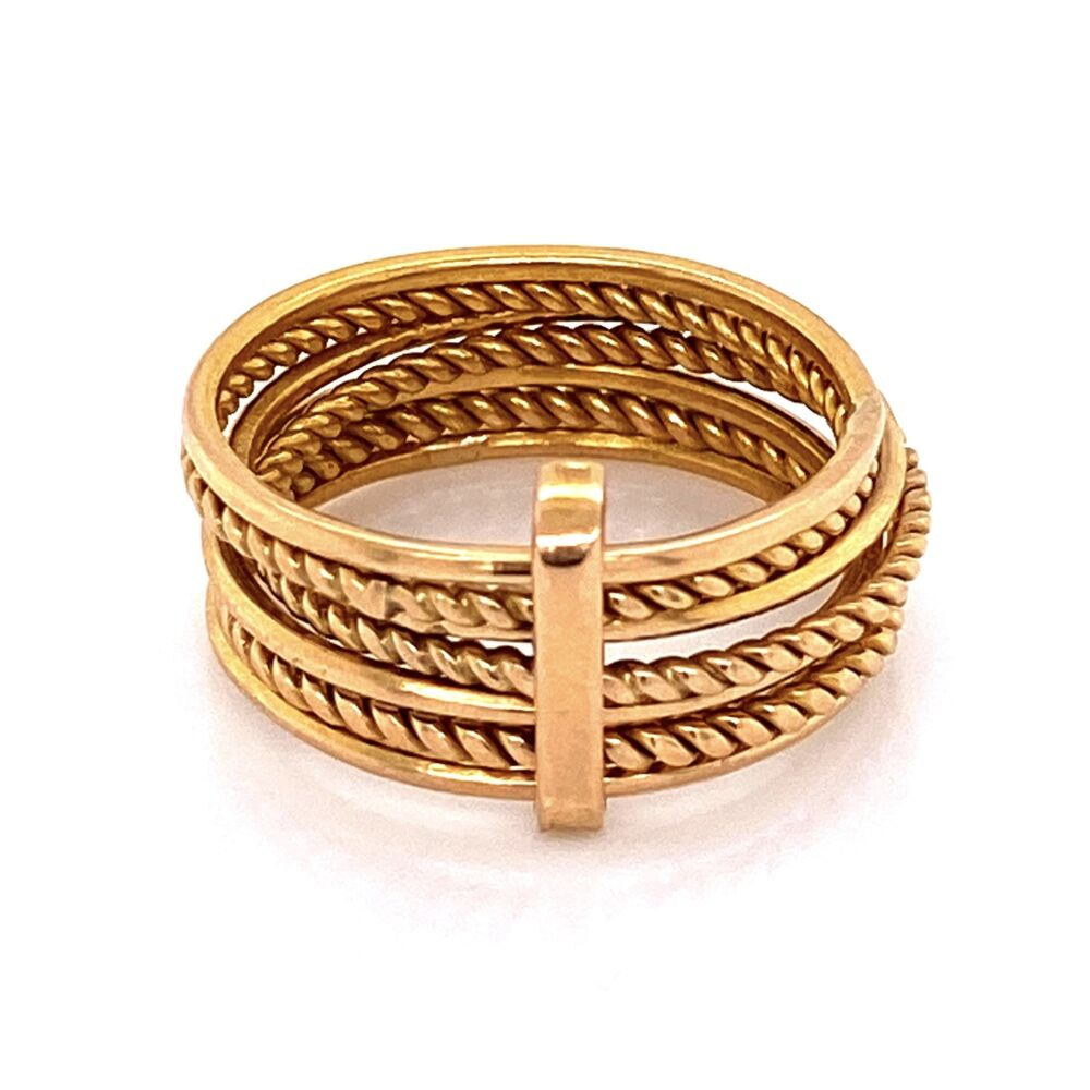Image 2 for 14K YG 7 Row Rope & Smooth Flexible Band Ring 5.3g, s