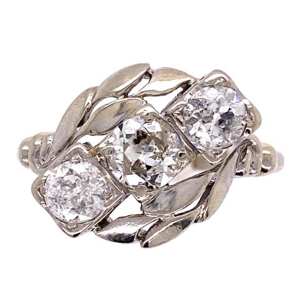 Closeup photo of 14K WG 1950's 3 Diamond Ring 1.58tcw with Leaf Design 3.6g, s10