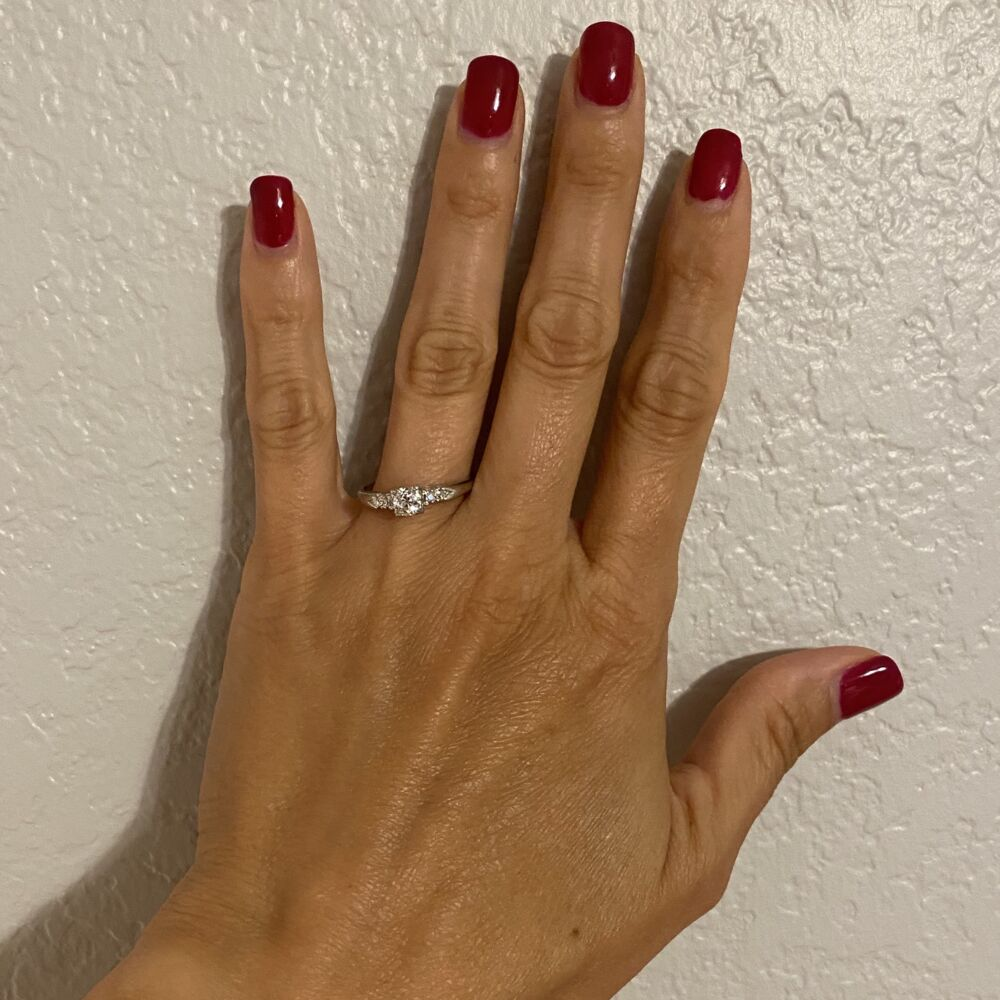 Platinum Art Deco Diamond Ring .55ct Diamond 3.7g, s