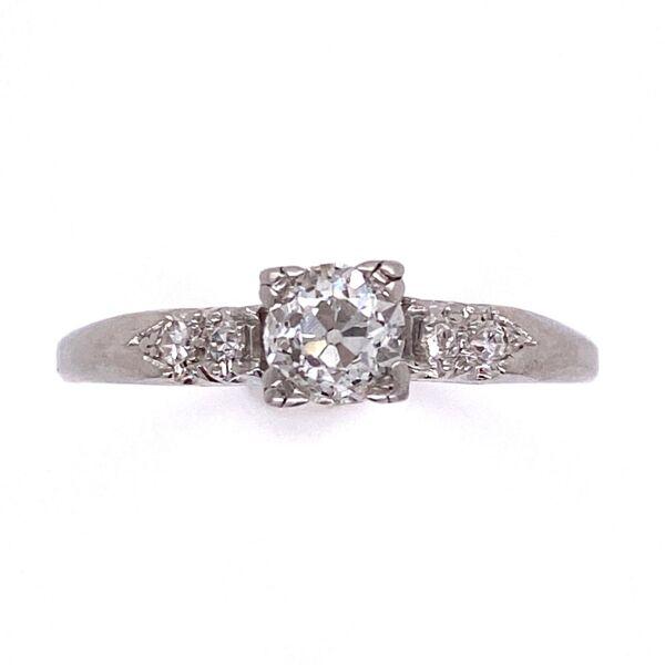 Closeup photo of Platinum Art Deco Diamond Ring .55ct Diamond 3.7g, s