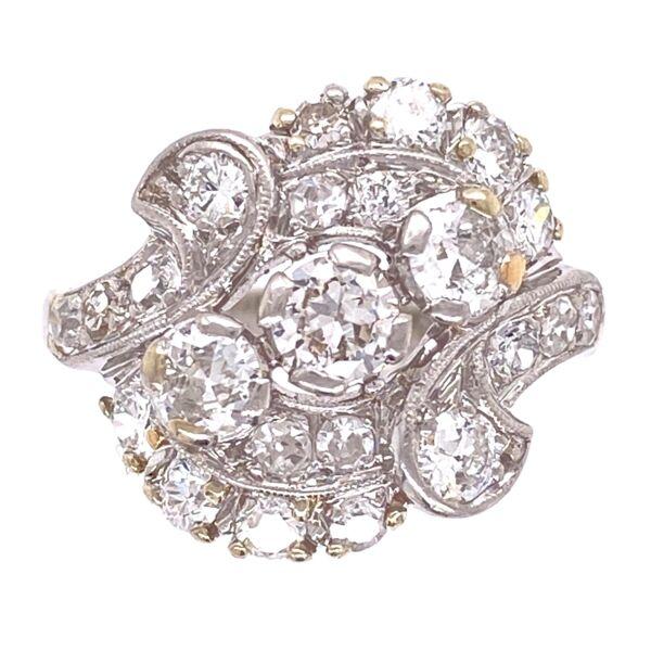 Closeup photo of Platinum 1950's Spray 1.55tcw Diamond Ring 6.9g, s5.5