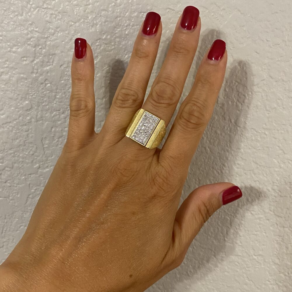 18K Yellow 1980's Flip Ring with .55tcw Diamonds & Tiger's Eye