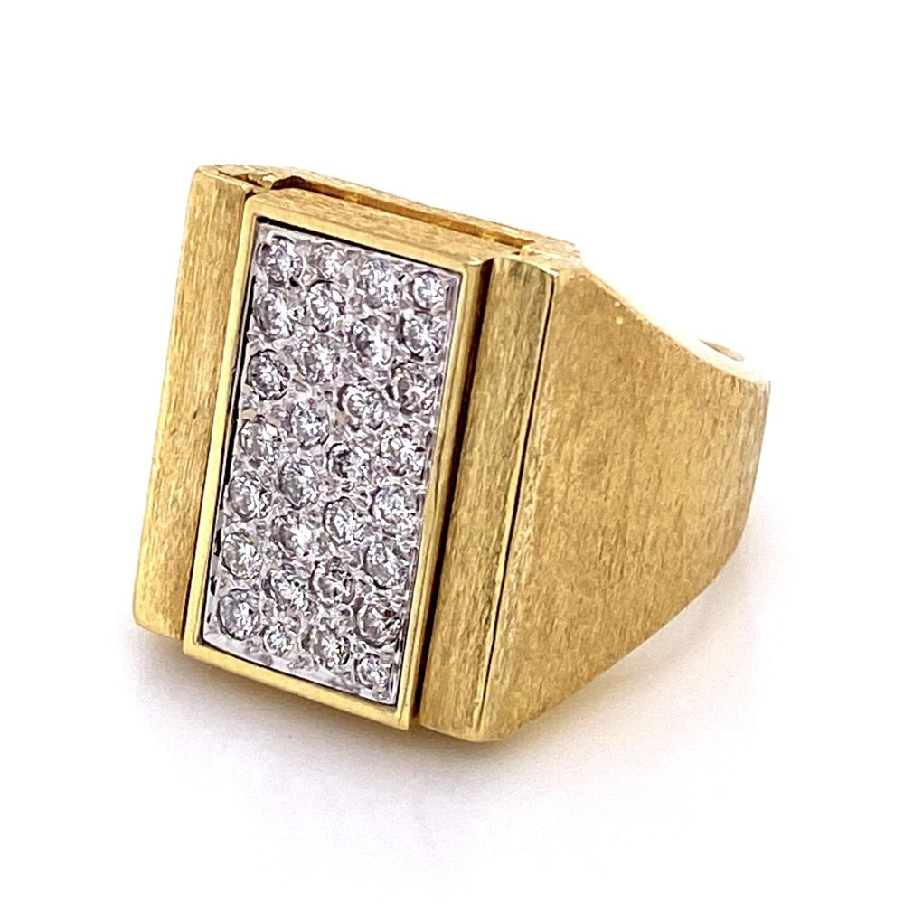 Image 2 for 18K Yellow 1980's Flip Ring with .55tcw Diamonds & Tiger's Eye