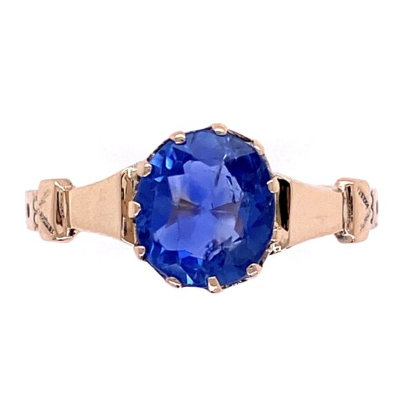 Closeup photo of 9K Victorian 1.51ct NO HEAT Sapphire Ring