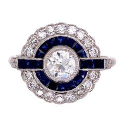 Closeup photo of Platinum Art Deco .44ct Old European Cut Diamond & Sapphire Ring