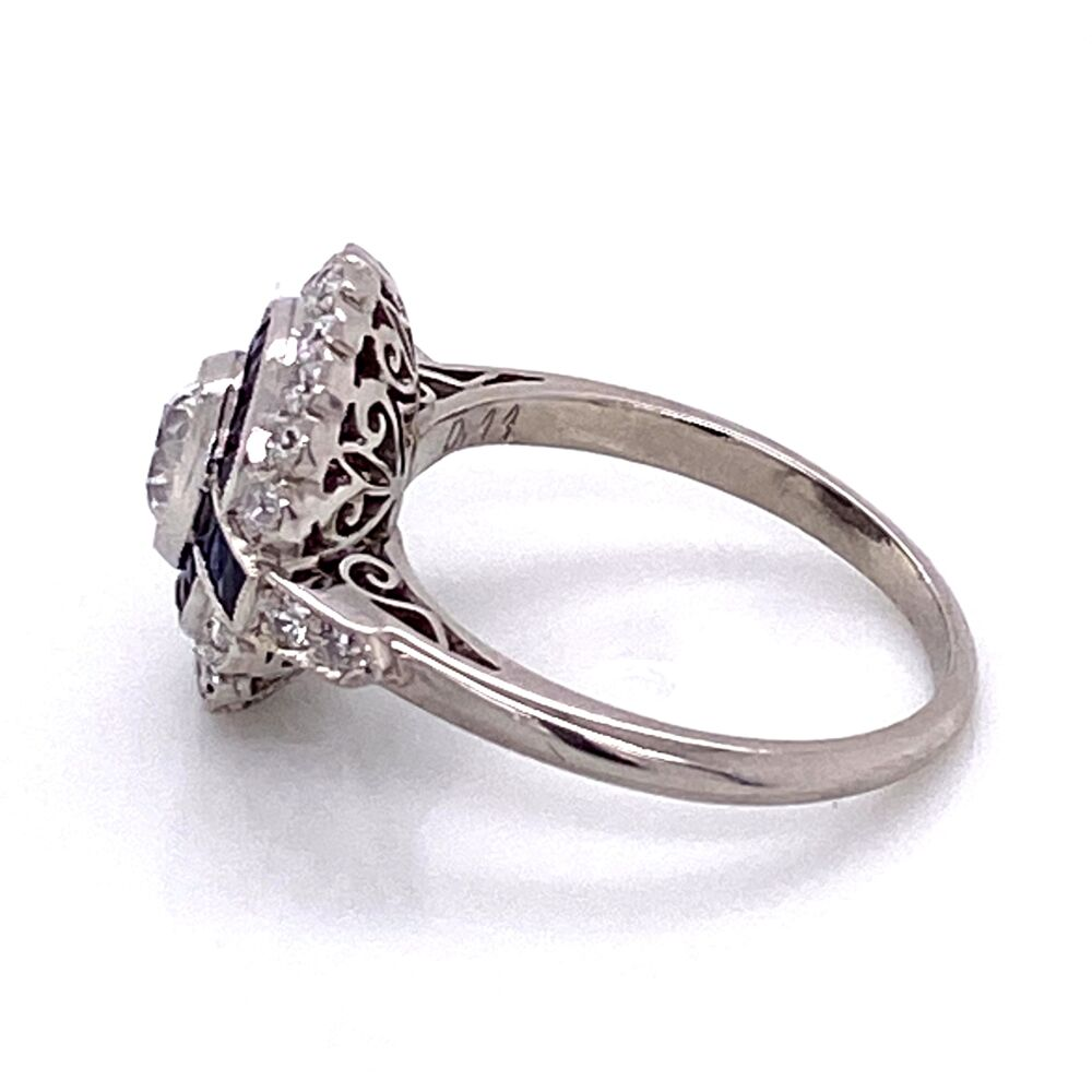 Platinum Art Deco 44ct Old European Cut Diamond Sapphire Ring Platinum 1911