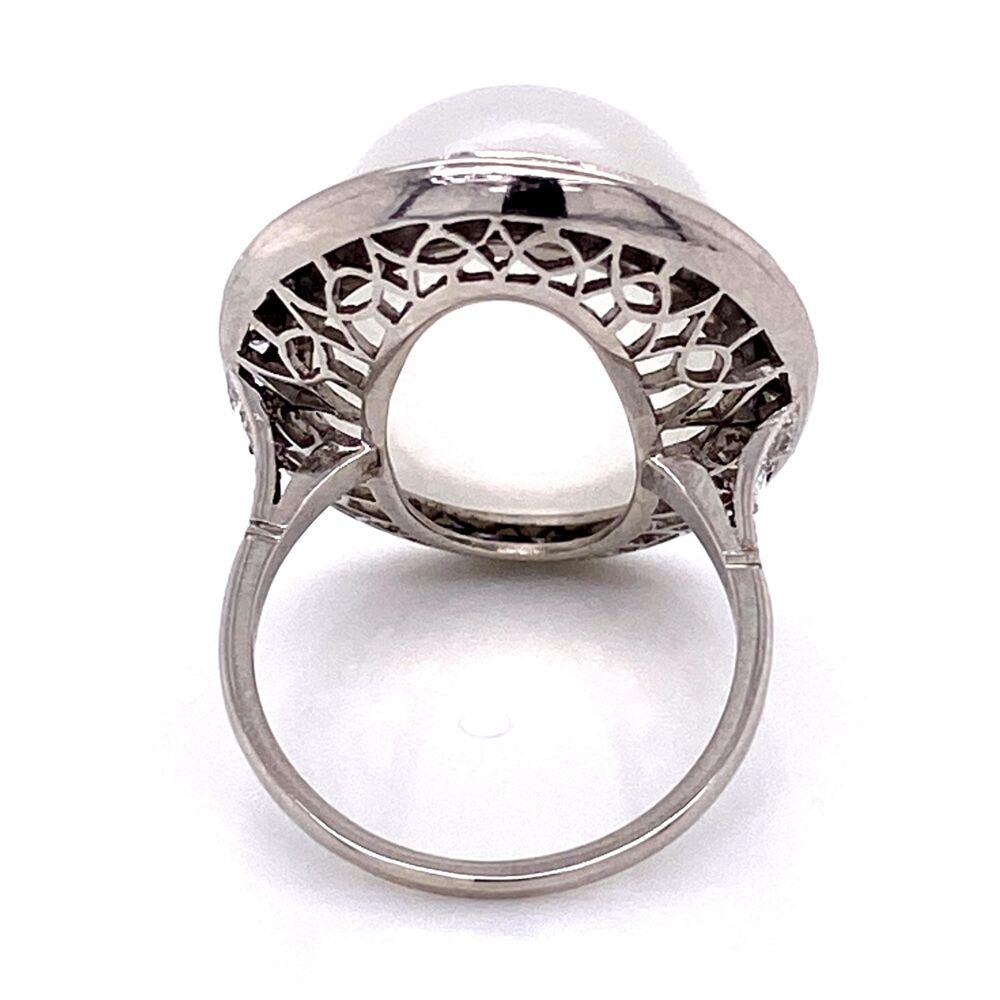 Platinum Handmade Large Moonstone Ring with Rosecut Diamonds