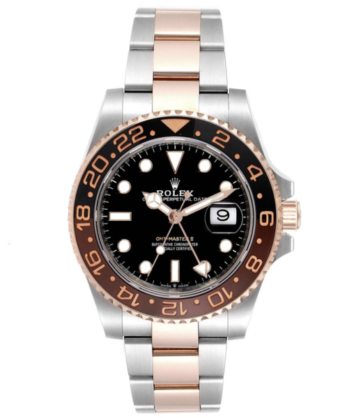 Closeup photo of Rolex GMT Master II ROOTBEER Steel Everose Gold Mens Watch