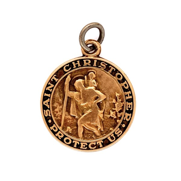 Closeup photo of 14K YG Saint Christopher Protect Us Medallion, 3.5g
