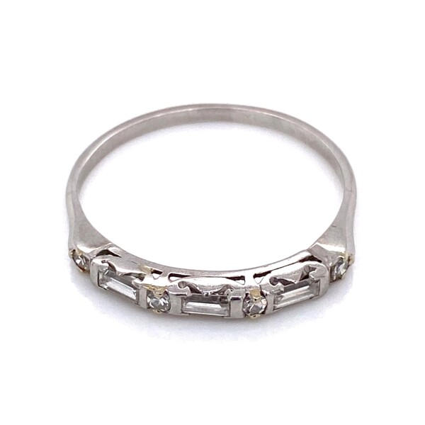 Closeup photo of Platinum Diamond Baguette and Round Band Ring