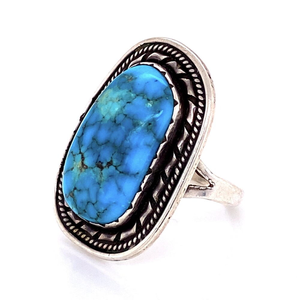"""925 Sterling Old Pawn Turquoise Ring stamped """"ET"""" 10.1g"""