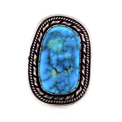 """Closeup photo of 925 Sterling Old Pawn Turquoise Ring stamped """"ET"""" 10.1g"""