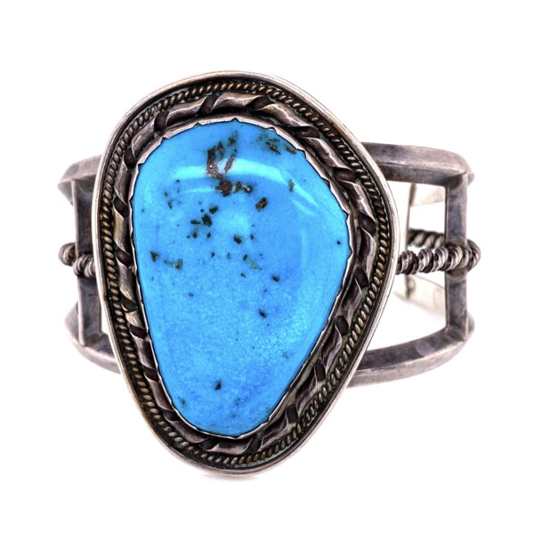 """Closeup photo of 925 Sterling Old Pawn Turquoise Cuff Bracelet Stamped """"ET"""" 71.0g"""
