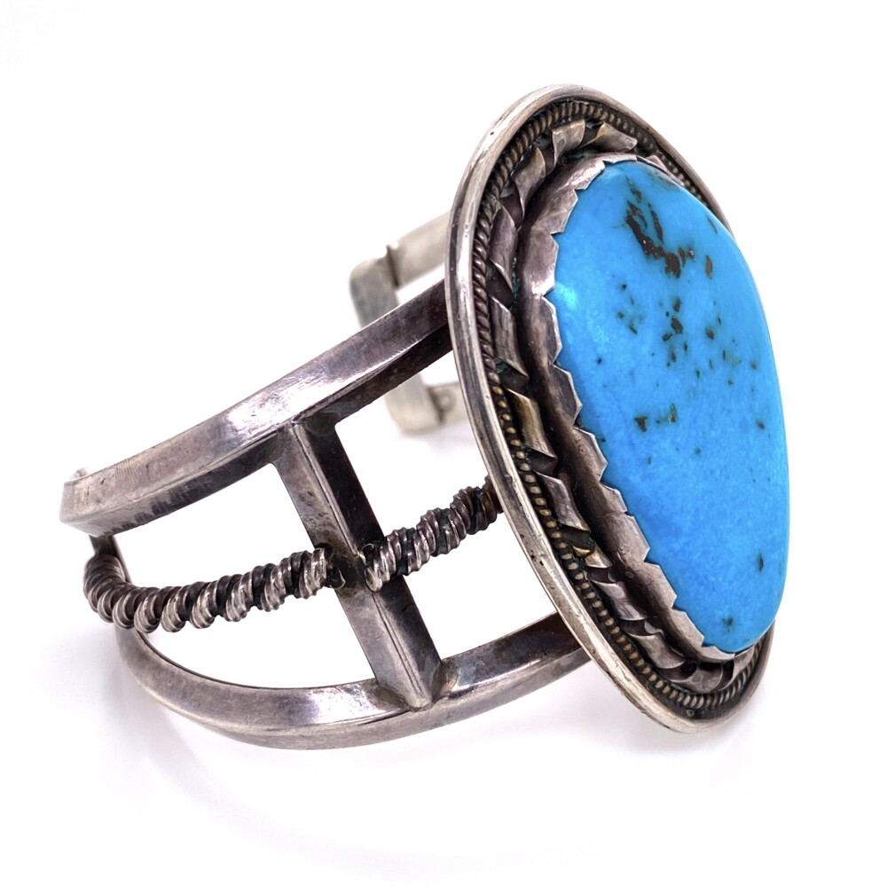 """925 Sterling Old Pawn Turquoise Cuff Bracelet Stamped """"ET"""" 71.0g"""