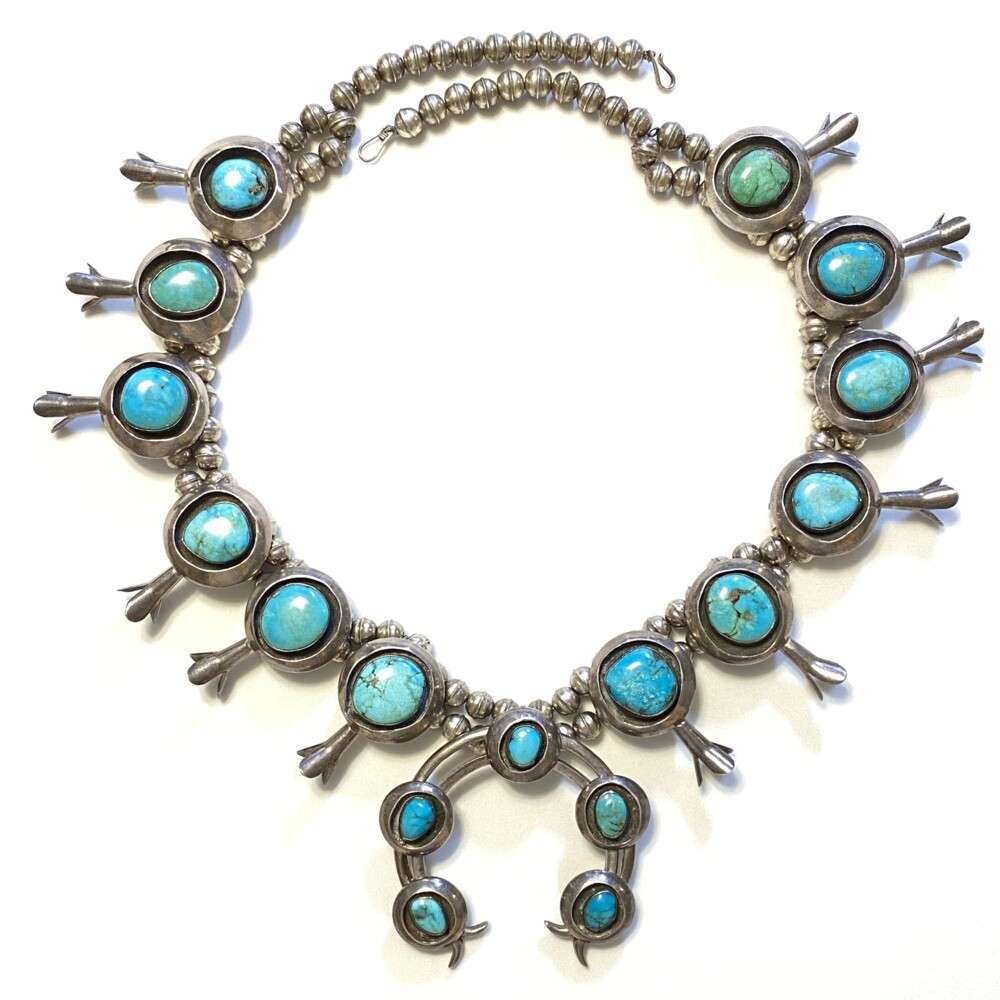925 Sterling Native Squash Blossom 12 station Turquoise Necklace