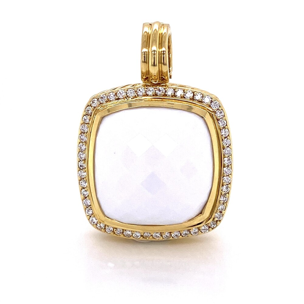 18K YG David Yurman Large 20mm White Agate Pendant .48tcw Diamonds 23.2g