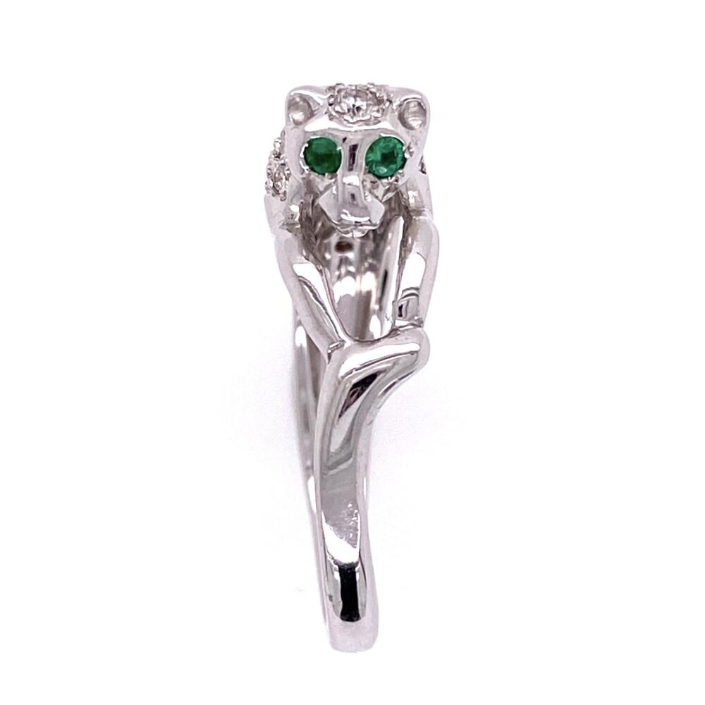 18K White Gold Panther Diamond Ring, Emerald Eyes 6.2g
