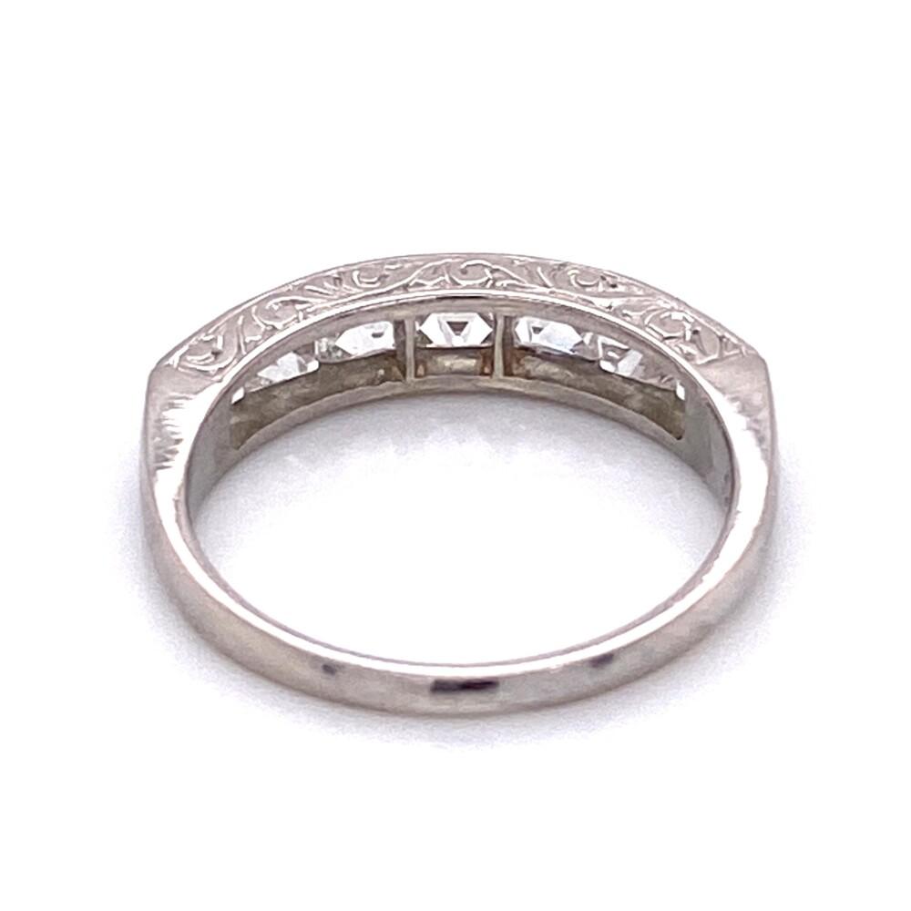 Platinum Engraved French Cut Diamond Band Ring 1.80tcw