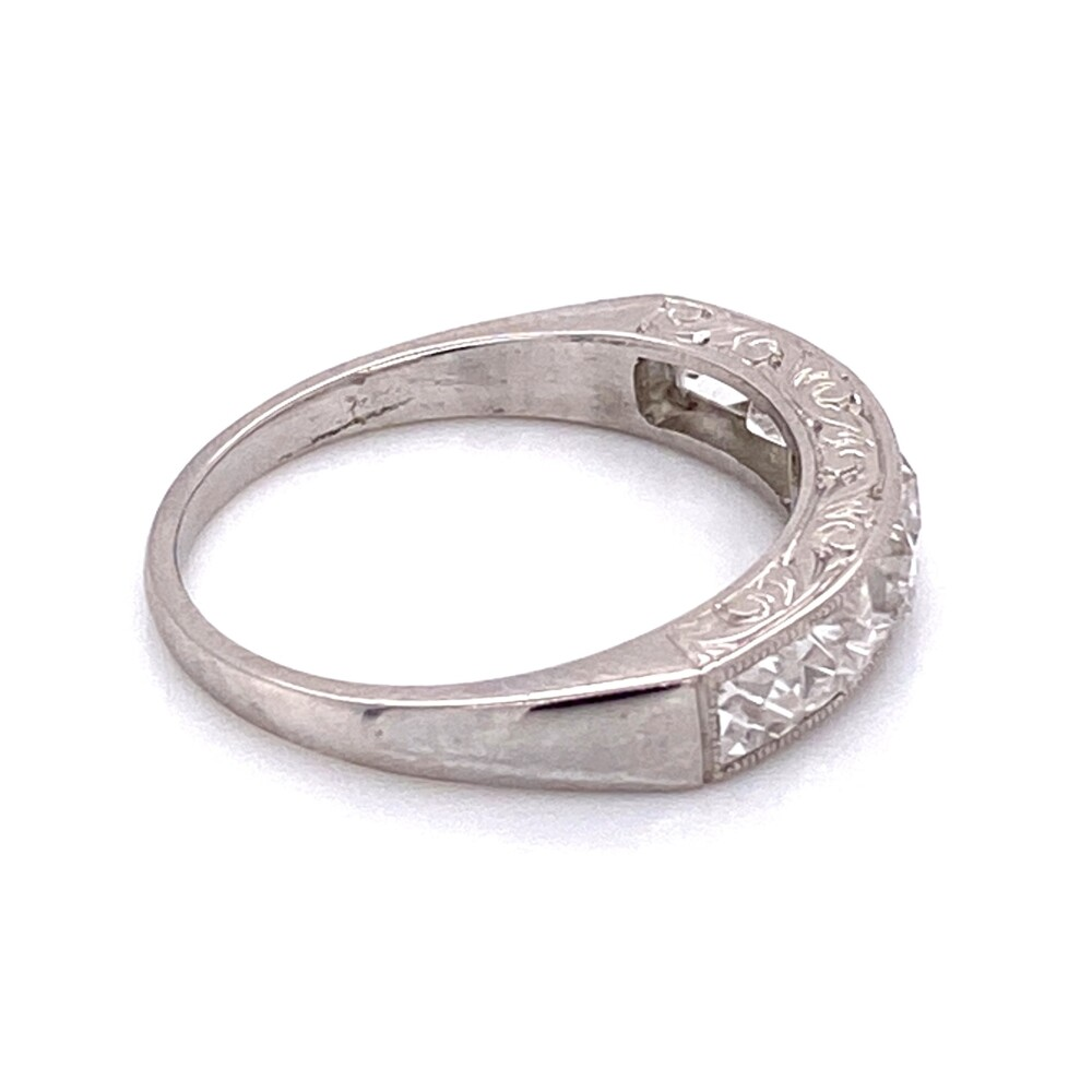 Image 2 for Platinum Engraved French Cut Diamond Band Ring 1.80tcw