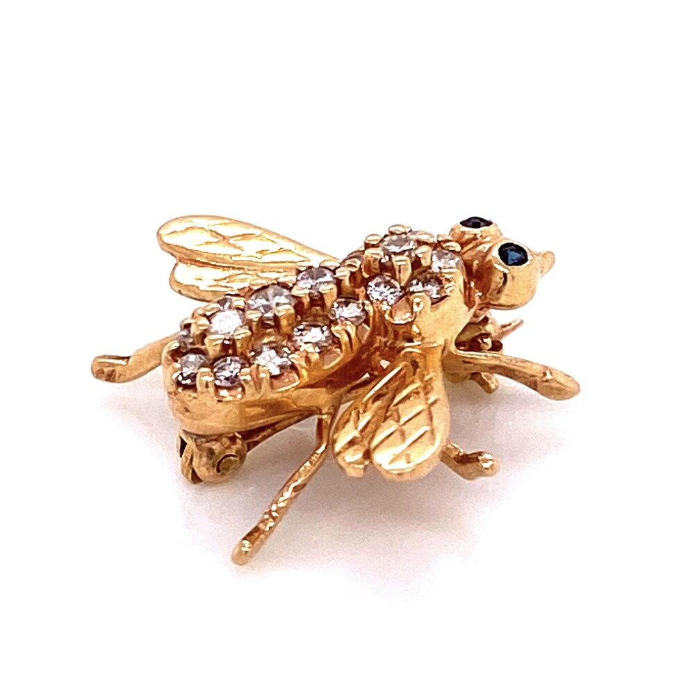 Image 2 for 14K YG Diamond Bee Brooch Pin with Sapphire Eyes 3.2g