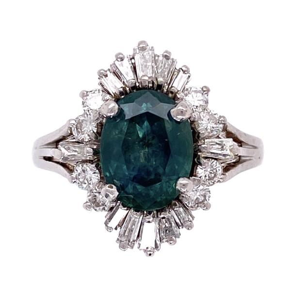 Closeup photo of 14K WG Ballerina Diamond Ring with 1.99ct Montana Sapphire 3.9g