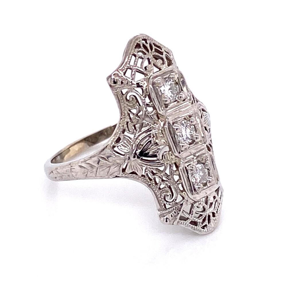 Image 2 for 14K WG Art Deco Filigree Navette Diamond Ring 3.8g