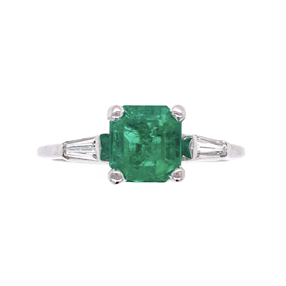 18K White Gold .99ct Square Emerald with 2 tapered baguettes Ring .10tcw 2.2g, s5.25