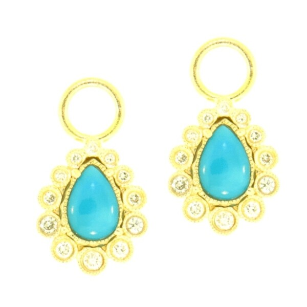 Closeup photo of Cynthia Ann Jewels Turquoise & Diamond Pear shaped Earring Charms