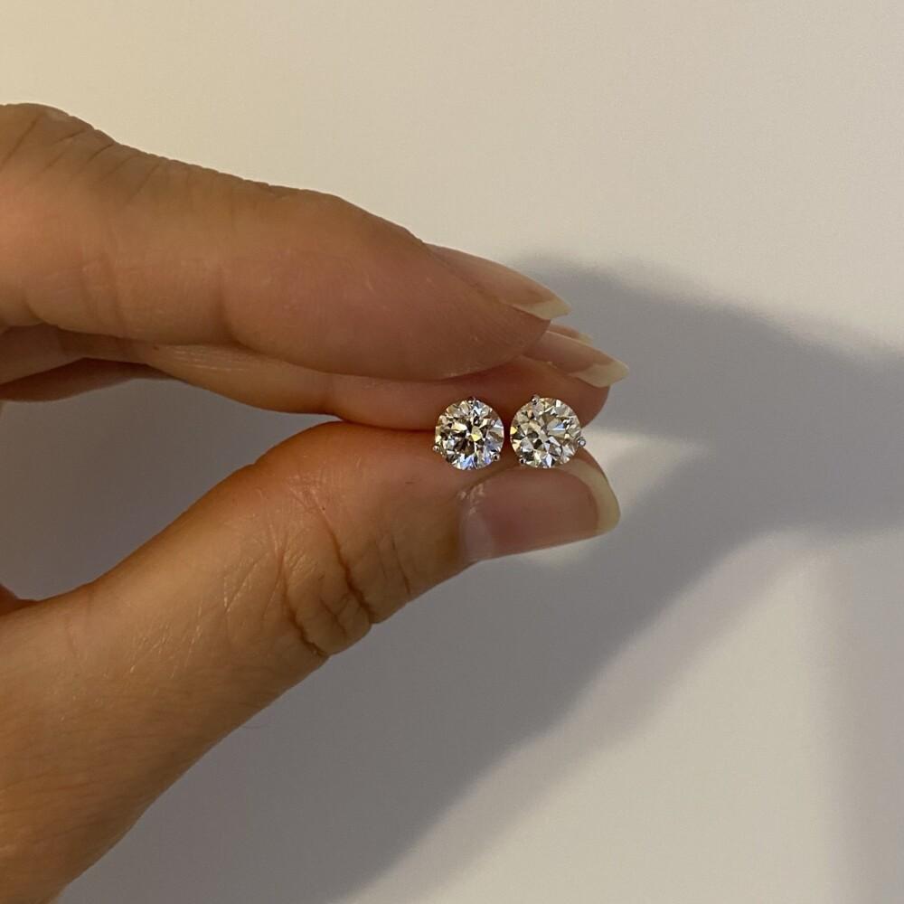 2.02tcw Round Brilliant Diamond Stud Earrings H-SI2
