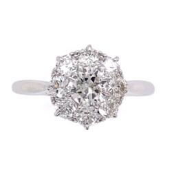 Closeup photo of Platinum Mid-Century 1.30tcw Cluster Diamond Ring
