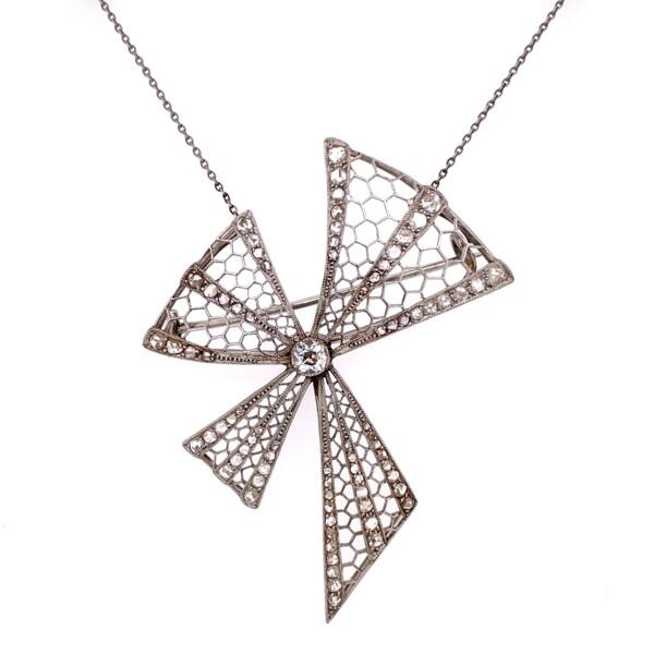 "Closeup photo of Platinum Art Deco Bow Brooch Necklace 1.00tcw Diamonds 10.2g, 17"""