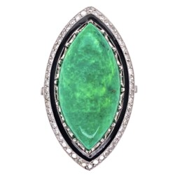 Closeup photo of Platinum Art Deco Revival Green Turquoise, Black Enamel & Diamond Ring 10.8g, s7.25