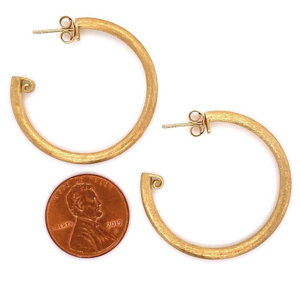 """18K YG JudeFrances Brush Gold Hoops Earrings 3.3g, 1.30"""" tall"""