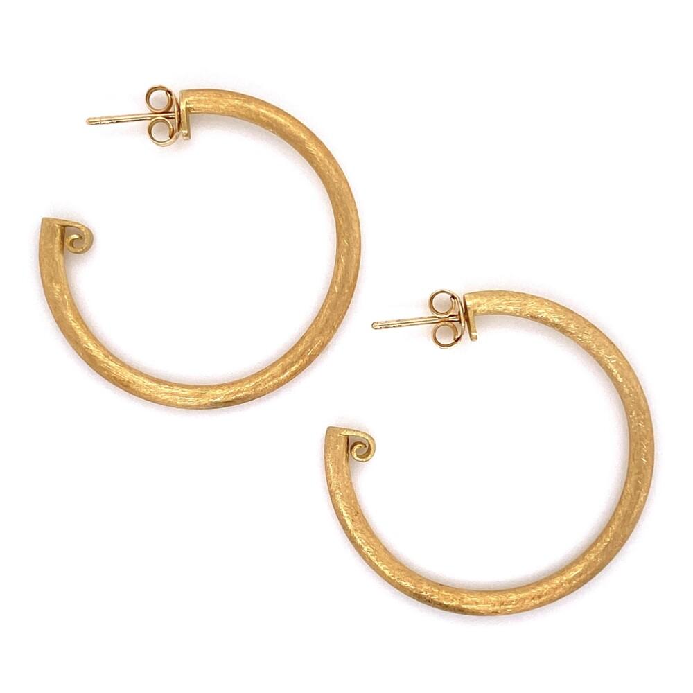 """Image 2 for 18K YG JudeFrances Brush Gold Hoops Earrings 3.3g, 1.30"""" tall"""