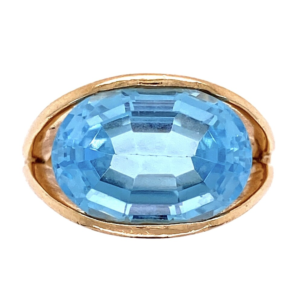 14K YG 5ct Oval Sky Blue Topaz Split Shank Ring 7.0g, s6.5