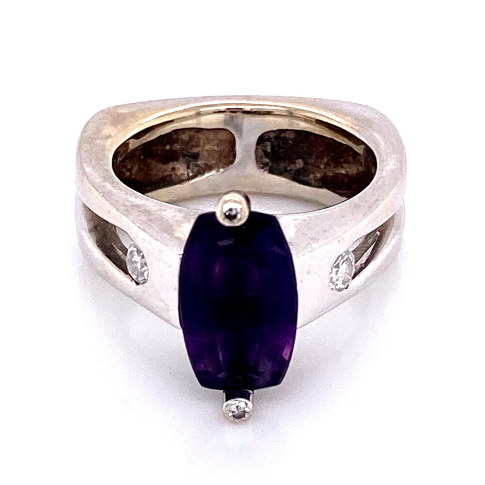 14K WG TIBERIO Custom Ring with Step Cut Amethyst & Diamonds 10.7g, s5.75