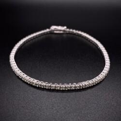 "Closeup photo of 14K WG Straight Line Diamond Tennis Bracelet 2.67tcw, 7"""