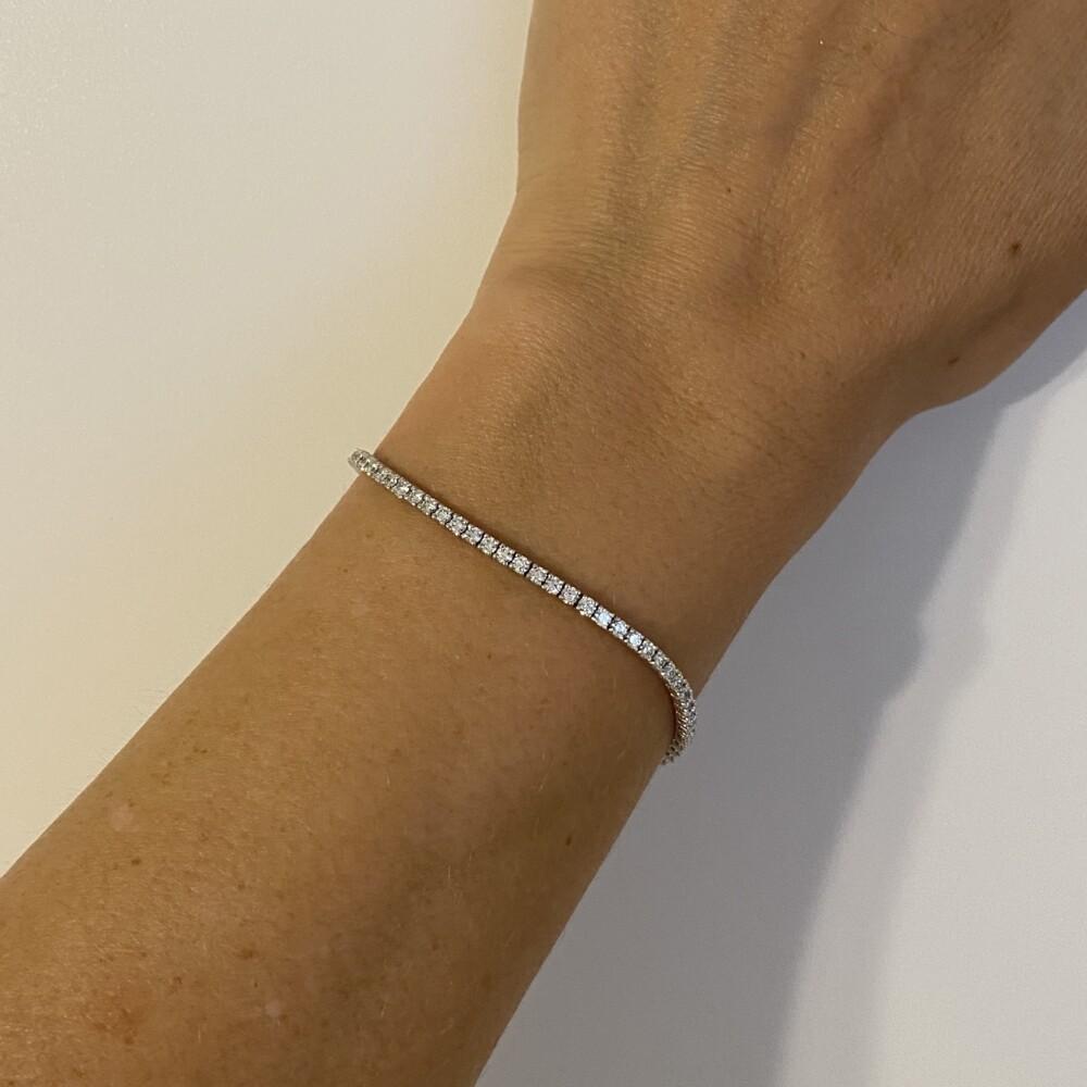 """14K WG Straight Line Diamond Tennis Bracelet 2.67tcw, 7"""""""