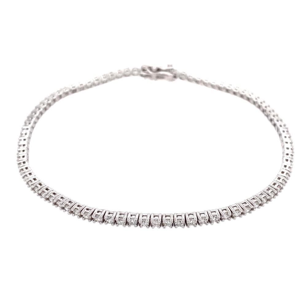 """14K WG Straight Line Diamond Tennis Bracelet 1.91tcw, 7"""""""