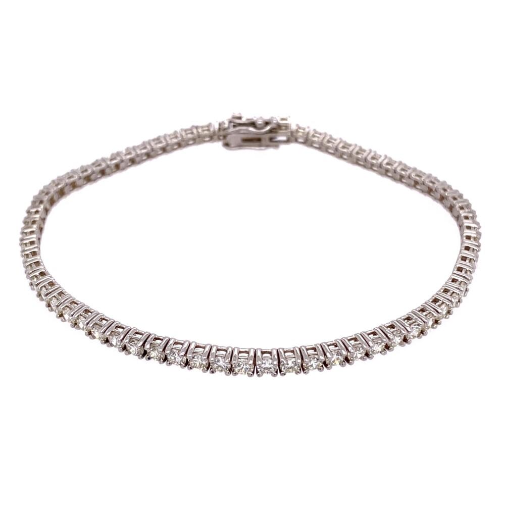 """14K WG Straight Line Diamond Tennis Bracelet 3.76tcw, 7"""""""