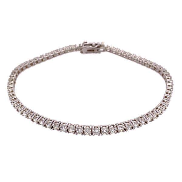 "Closeup photo of 14K WG Straight Line Diamond Tennis Bracelet 3.76tcw, 7"""