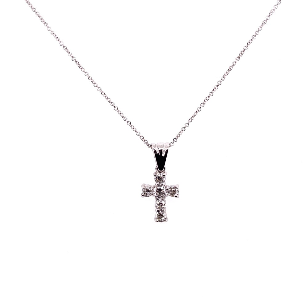 Image 2 for 14K WG Petite Pave Diamond Cross Necklace .24tcw, 16-18""