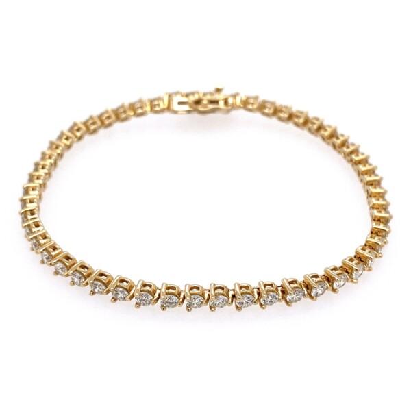 "Closeup photo of 14K YG Straight Line Diamond Tennis Bracelet 3.80tcw, 7"""