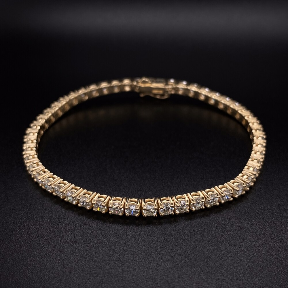 14K YG Straight Line Diamond Tennis Bracelet 7.04tcw, 7""