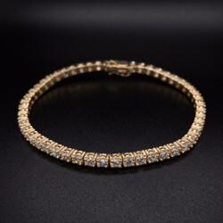 "Closeup photo of 14K YG Straight Line Diamond Tennis Bracelet 7.04tcw, 7"""