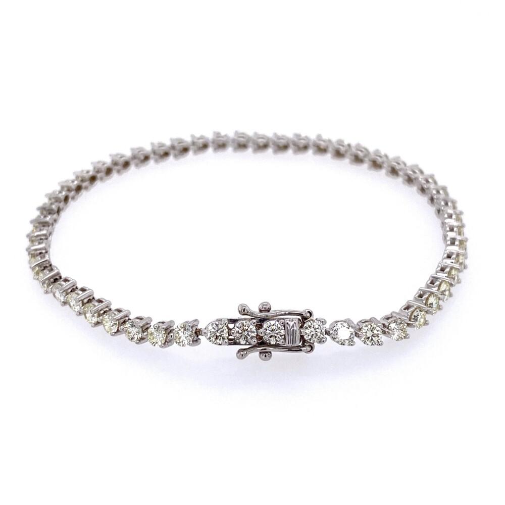 """14K WG Straight Line Diamond Tennis Bracelet 4.17tcw, 7"""""""