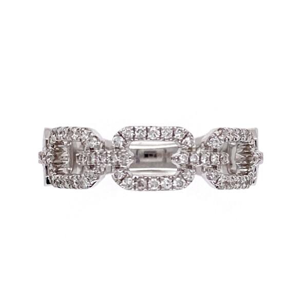 Closeup photo of 18K WG .28tcw Diamond Gucci Style Link Band Ring 4.2g, s6.5