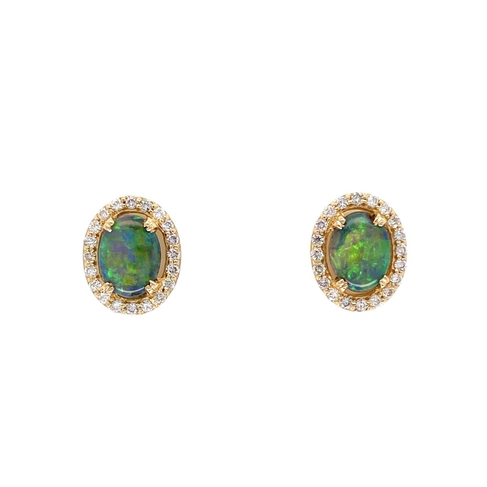 Image 3 for 18K YG 1.05tcw Oval Black Opal & .24tcw Diamond Stud Earrings